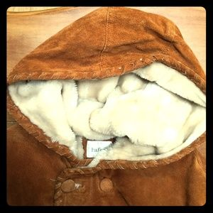 Jackets & Blazers - Suede leather faux fur lined hoodie coat